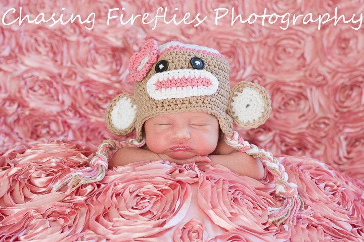 Crochet Pink Sock Monkey Hat Newborn To Toddler Sizing Photography