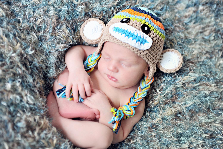 d8f89df000c Crochet Boys Stripe Sock Monkey Hat Newborn To Toddler Sizing Photography  Prop on Luulla